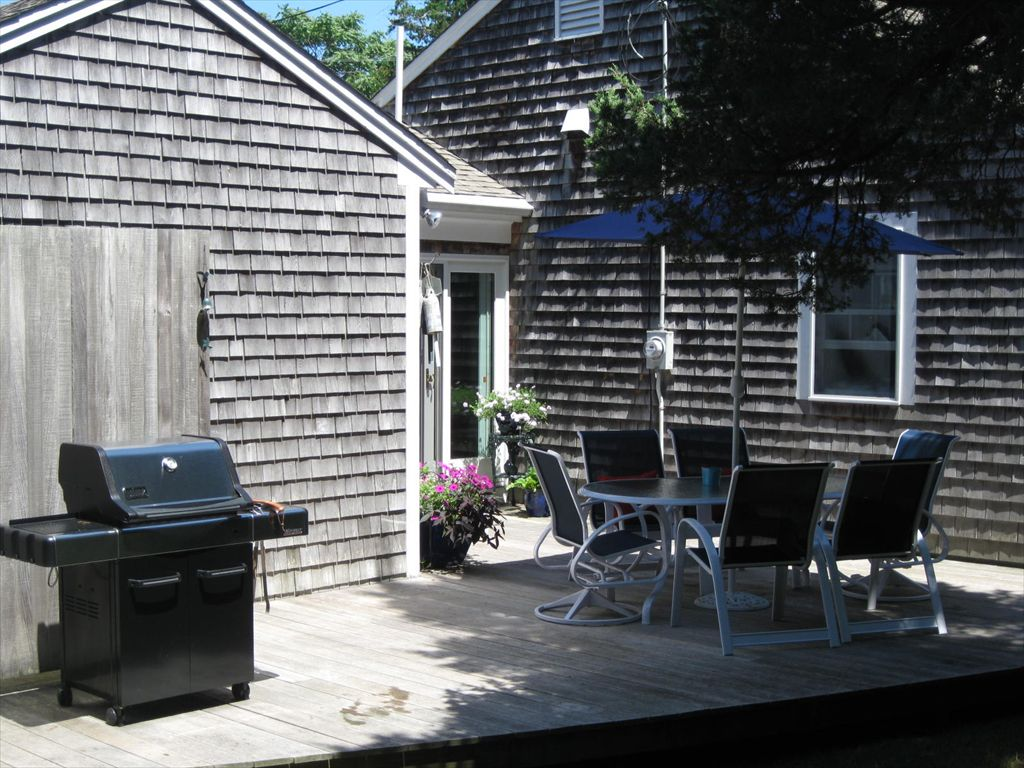 Deck with grill and shower