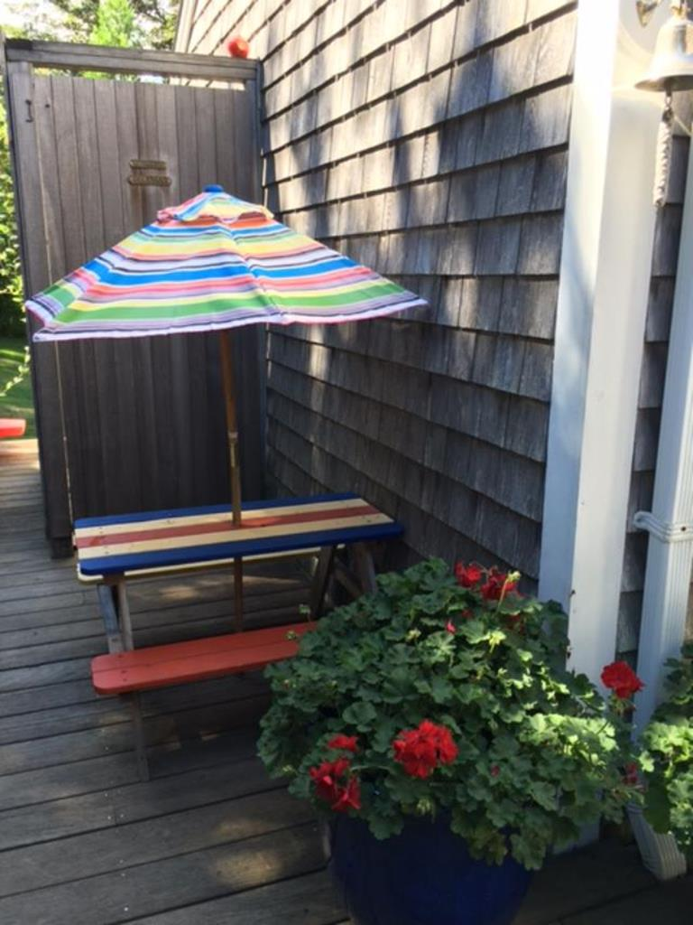 deck with shower