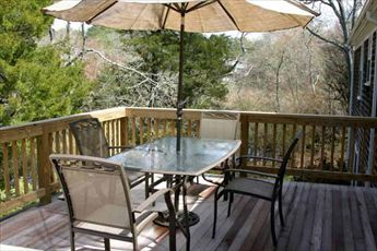 Deck overlooking private wooded back yard