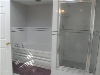 View of master bath tub and shower