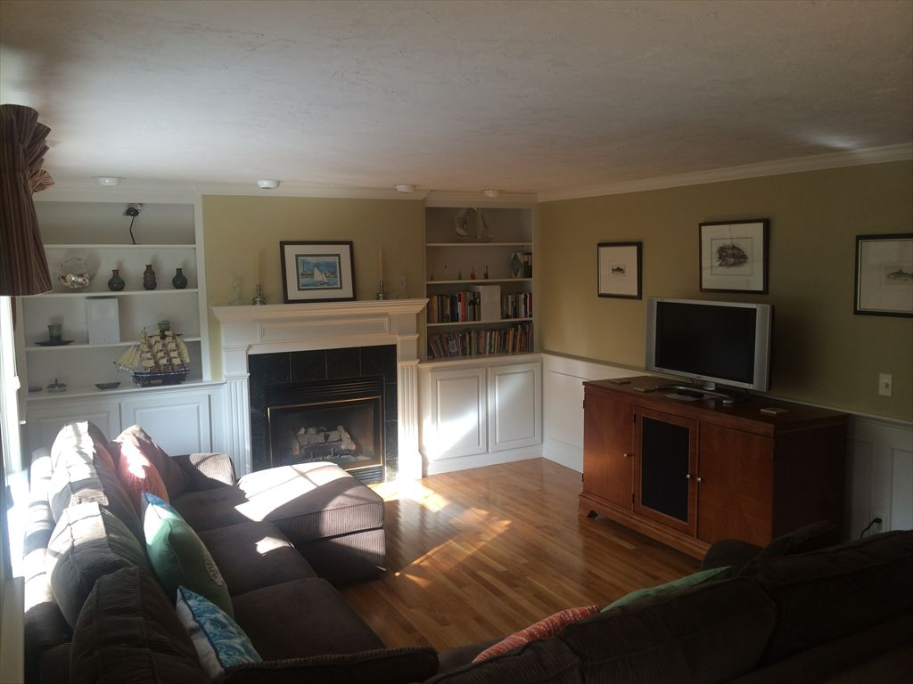 Living room with flat screen TV and gas fireplace