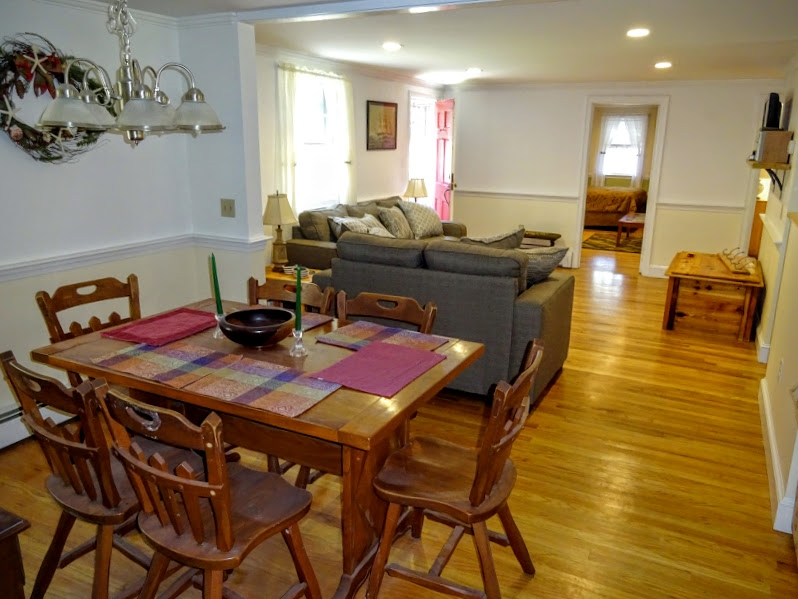 Open living , dining and kitchen.