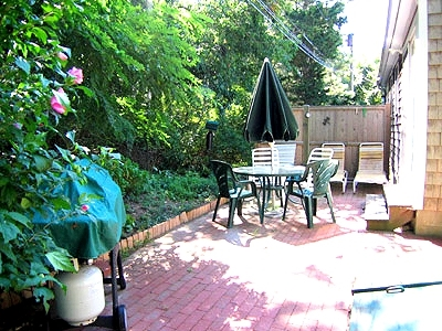Outside area with furniture, BBQ Gas Grill, enclosed outdoor Shower