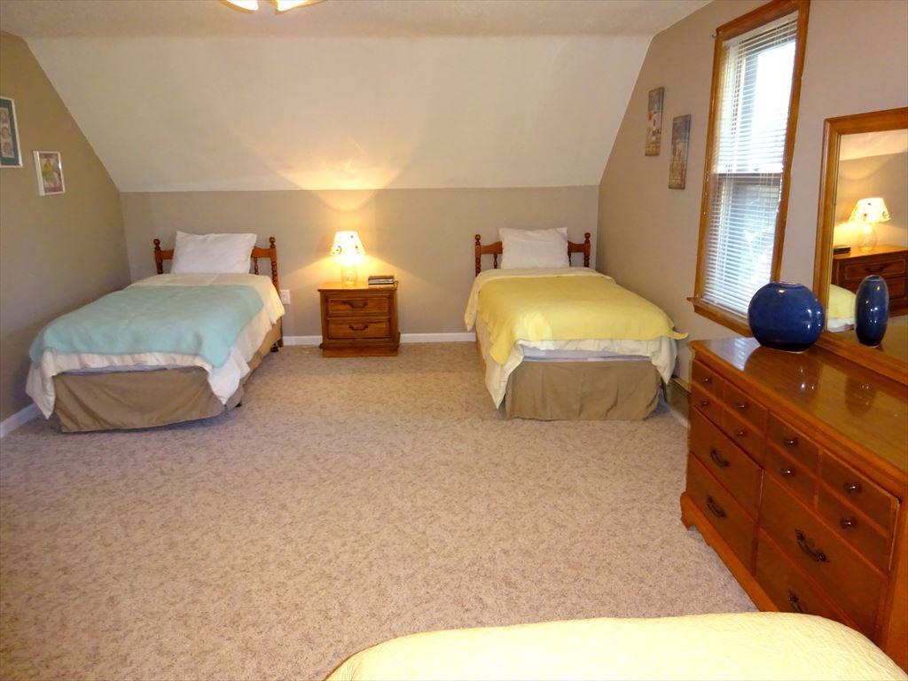 Second floor bedroom with 4 twins