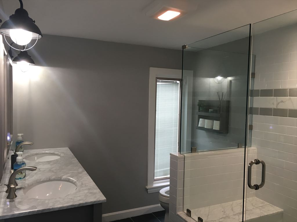 Gorgeous Private Master Bath With Glassed In Marble Tile Shower
