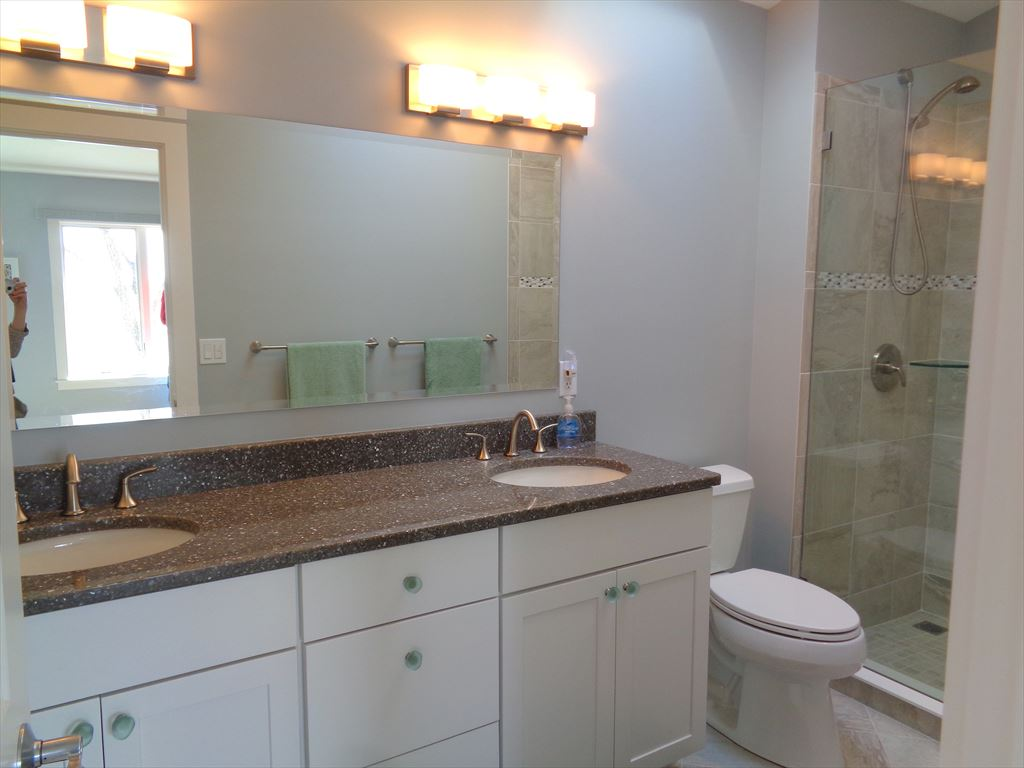 Master Bath has a big skylight to provide natural light and step in shower